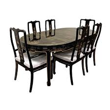 black lacquer dining room furniture. oriental furniture hand painted on black lacquer dining table w 6 chairs room