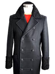 versace coat military style astrakhan collar and cuffs