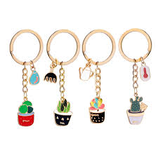 enamel Cactus keychains women Succulent Potted keychain beach style hat  rings creative car key holder cute