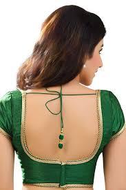 U Neck Saree Blouse Design Dark Green Designer Raw Silk Blouse With Back Deep U Neck