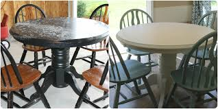 refinishing furniture with paint before and after refinished table with paint