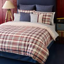 classic bedroom design ideas with dark grey velvet headboard and tommy hilfiger plaid bedding twin