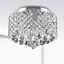 overhead bathroom lighting. contemporary lighting nerisa chrome crystal flush mount chandelier and overhead bathroom lighting