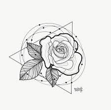 Tattoo Of Rose And Triangle Blackwork Circle Geometric Rose