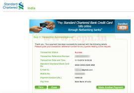 standard chartered bank credit card receipt of bill payment