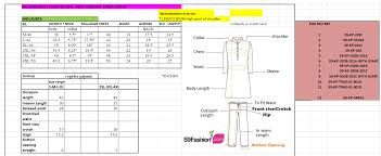Churidar Measurement Chart Mens Kurta Mens Shirt Size Chart