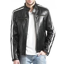 mens black white stripe leather jacket