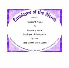 Printable Employee Of The Month Certificates Employee Of The Month Certificate Template Quarter Poporon Co