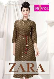 Designer Kurtis Wholesale Online Shopping Rajvee Presents Zara Cotton Kurtis Wholesalers Surat India
