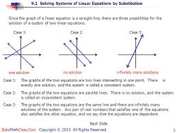 9 1 solving systems of linear equations by substitution bobsmathclass com copyright 2010 all rights