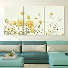 wall26 3 panel canvas wall art yellow wild flowers giclee print gallery wrap modern home decor ready to hang 16 x24 x 3 panels