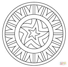 Small Picture Mandala with Star Pattern coloring page Free Printable Coloring