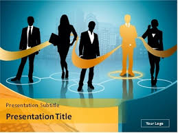 Blue And Orange Powerpoint Template Download Business People Network Over Blue And Orange