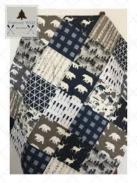 navy plaid boy quilt woodland crib