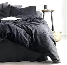 grey twin duvet cover rough linen bedding queen king black dark