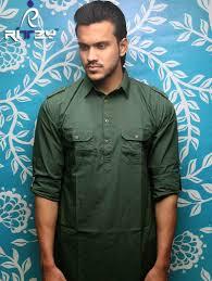 Pakistani Kabli Punjabi Design Dark Green Cotton Slim Fit Semi Long Kabli Shaped Panjabi For Men Mkp 06