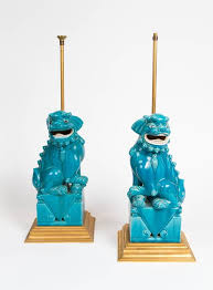 pair of ceramic foo dog lamps