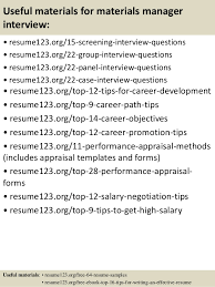 top materials manager resume samples 15 useful materials for materials manager