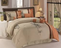 asian comforter set 7pc rust taupe black oriental bamboo queen king size bedding full