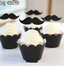 ᐃJOY-ENLIFE 24 шт. черные усы кекс украшения для детей День ...
