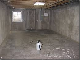 image of painting unfinished basement walls and floor