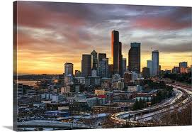 wall art columbia center and downtown seattle seattle wa at sunset  on wall art seattle wa with columbia center and downtown seattle seattle wa at sunset wall