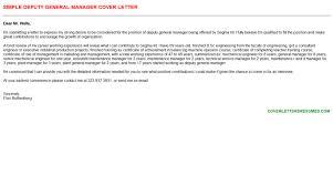 Deputy General Manager Cover Letter And Resume