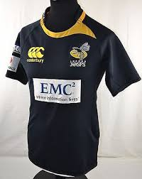 london wasps home rugby union shirt s small jersey black yellow