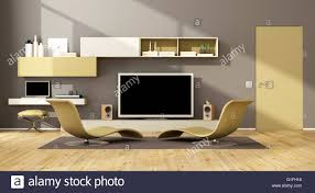 Lounge Living Room Contemporary Living Room With Two Chaise Lounge And Wall Unit With