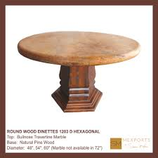 Marble Table Tops Round 02 Dining Round Table Wood Base Natural Finish Chiseled Marble