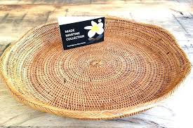 round wicker tray grass table basket rattan plain jumbo touch for large with handles white