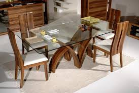 image of glass top dining tables with wood base