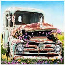 americana wall art got flowers classic cars decor on metal or plexiglass