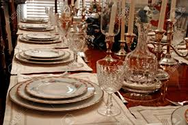 formal dining table setting. A Formal Dining Table Set With China, Crystal, And Candles Stock Photo - 1291192 Setting O