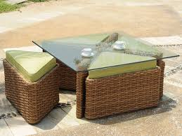 wicker coffee table with glass top sets
