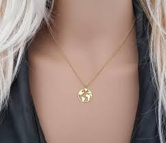 globe necklace earth necklace gold