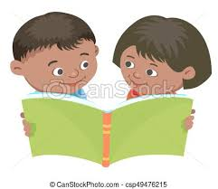 cartoon kids reading book vector mexican half breed
