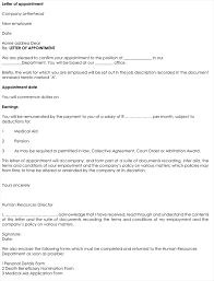 appointment letter format in word