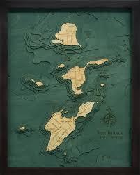Nautical Wood Charts Bass Islands Put In Bay Ohio 3 D Nautical Wood Chart