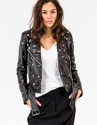 star stud biker jacket black