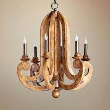wooden wine barrel stave chandelier long rustic medium