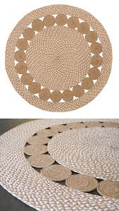 natural and white circles design round rug 90 x 90cm