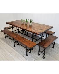 steel pipe furniture. SALE Pine Wood Steel Pipe Dining Set, Table With 4 Benches, Thick Top Furniture
