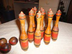 Antique Wooden Bowling Game Children bowling game toddler fun playset animal pins numbers 98