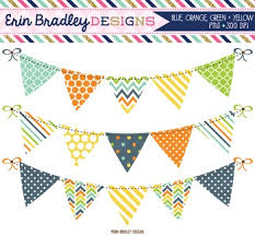 Banner Patterns Classy Clipart Bunting Banner Flags Digital Graphics Blue Green Yellow