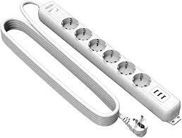 Power Socket Strip 6 <b>Way</b> 3 USB <b>NTONPOWER</b> Multiple Socket ...
