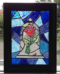 beauty and the beast rose mural painted faux stained glass by lovecraftscreations