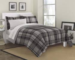 gray black white plaid masculine bedding teen boy twin full queen bed in a bag set