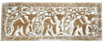 carved wood wall art elephant decor decorative wooden hangings thai carving uk animal panel