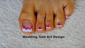 Pedicure Designs Glitter Tutorial Beginners Wedding Toes Art Design French Pedicure Magenta Glitter